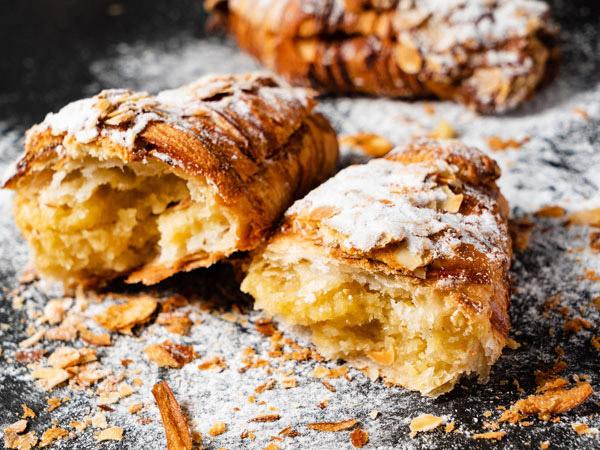 almond croissant using leftover frangipane